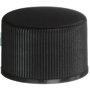 20-410 Continuous Thread Lined Black P/P Plastic Closure - F-217 Liner - Front View
