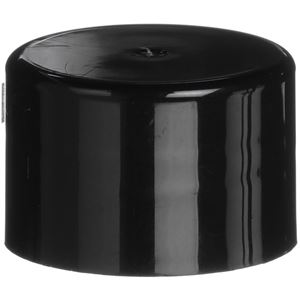24-410 Continuous Thread Lined Black P/P Plastic Closure - PV020 Liner - Front View