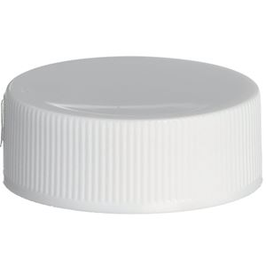 28-400 Continuous Thread Lined White P/P Plastic Closure - FS3-19/S105 Liner - Front View