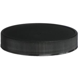 63-400 Continuous Thread Lined Black P/P Plastic Closure - ISPP U10 Plain Liner - Front View