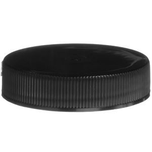 45-400 Continuous Thread Lined Black P/P Plastic Closure - PS22 & F217 Liners - Front View