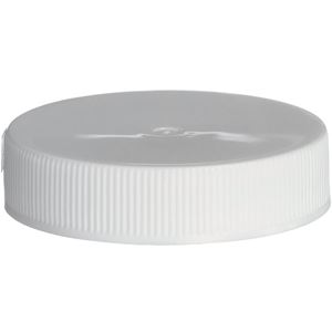 45-400 Continuous Thread Lined White P/P Plastic Closure - PS22 & F217 Liners - Front View