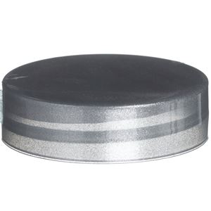 38-400 Continuous Thread Lined Silver P/P Plastic Closure - HS035 Printed Liner - Front View