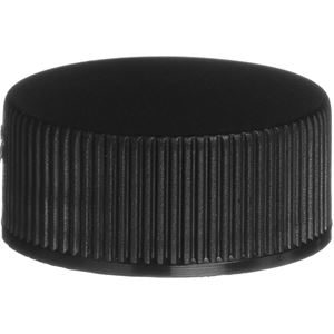 22-400 Continuous Thread Lined Black P/P Plastic Closure - F217 Liner - Front View