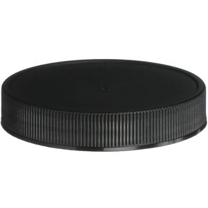63-400 Continuous Thread Lined Black P/P Plastic Closure - ISPE/PP U5 Plain Liner  - Front View