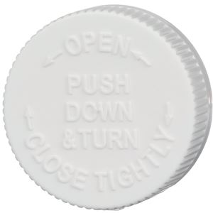 45-400 Push and Turn Child Resistant Lined White P/P Plastic Closure - Text Top - Top View