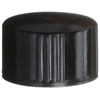 13-425 Continuous Thread Lined Black Phenolic Plastic Closure - P/E Cone Liner - Front View