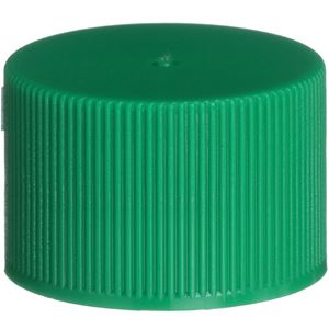 24-410 Continuous Thread Lined Green P/P Plastic Closure - FS3-19 Plain Liner - Front View