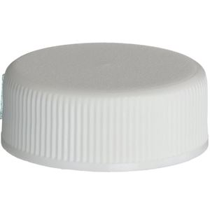 28-400 Continuous Thread Lined White P/P Plastic Closure - F-217 Liner  - Front View