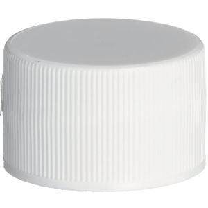 28-410 Continuous Thread Lined White P/P Plastic Closure - SG75 Plain Liner - Front View