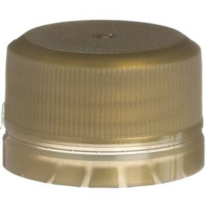 28-350 Tamper Evident Linerless Gold P/P Plastic Closure - Front View