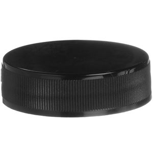 38-400 Continuous Thread Lined Black P/P Plastic Closure - F-217 Liner  - Front View