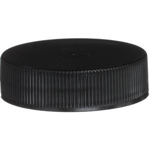 38-400 Continuous Thread Lined Black P/P Plastic Closure - PS22 Printed Liner - Front View