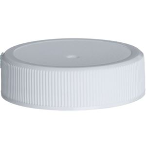 38-400 Continuous Thread Lined White P/P Plastic Closure - Foilseal Plain Tri-Tab Liner  - Front View