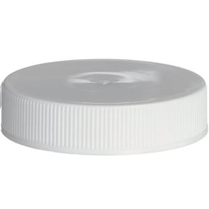 45-400 Continuous Thread Lined White P/P Plastic Closure - LP-H Printed Liner - Front View