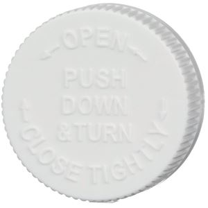 45-400 Push and Turn Child Resistant Lined White P/P Plastic Closure - Vented Liner - Top View