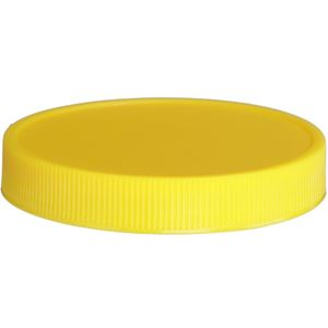 70-400 Continuous Thread Lined Yellow P/P Plastic Closure - HS035/Foam Printed Liner  - Front View