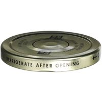 """70-2030 Lug Lined Gold Metal Closure - Plastisol Liner - Black """"Refrigerate After Opening""""  - Front View"""