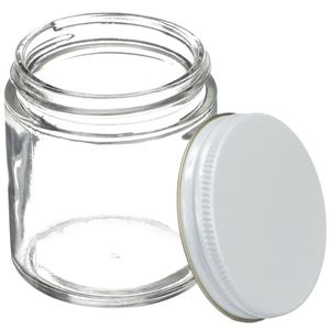 4 oz Clear Glass Round Jar - 58-400 Neck Finish - White/Gold Metal Closure Included - Angled View