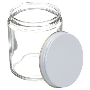 8 oz Flint Glass Jar Round - White/Gold Metal Closure Attached - Angled View