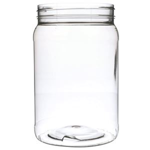 64 oz Clear PET Plastic Round Jar - 110-400 Neck Finish - Front View