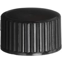18-400 Continuous Thread Lined Black Phenolic Plastic Closure - Polycone Liner - Front View