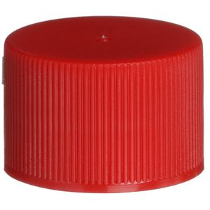 24-410 Continuous Thread Lined Red P/P Plastic Closure - FS3-19 Plain Liner - Front View