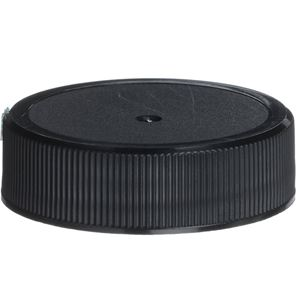 38-400 Continuous Thread Lined Black P/P Plastic Closure - Foam Liner - Front View