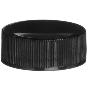 28-400 Continuous Thread Lined Black P/P Plastic Closure - PS22 Plain/F217 Liners - Front View