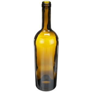 750 ml Antique Green Glass Tapered Claret Wine Bottle | 28.9mm Cork Neck Finish | 640 Gram Weight  - Angled View