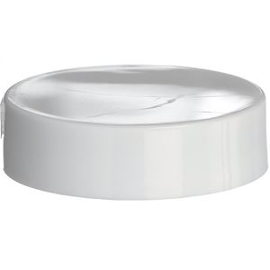 38-400 Continuous Thread Lined White P/P Plastic Closure - FS5-4 Pull Tab Liner - Front View