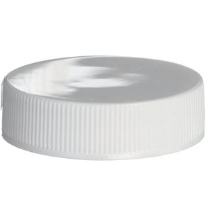 38-400 Continuous Thread Lined White P/P Plastic Closure - Lift N Peel H Liner  - Front View