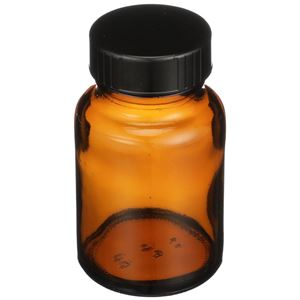 60 cc Nitrogen Purged Amber Glass Packer Round - Black Cap Attached - Angled View