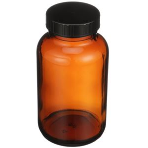 250 cc Nitrogen Purged Amber Glass Packer Round - Black Cap Attached - Angled View