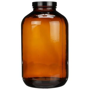 2500 cc Nitrogen Purged Amber Glass Packer Round - Black Cap Attached - Front View