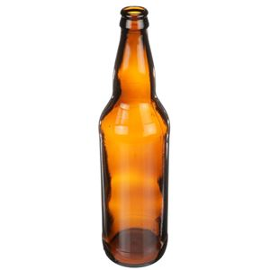 22 oz Amber Glass Round Beer Bottle - Pry-Off Crown Neck Finish - Angled View