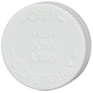53-400 Push and Turn Child Resistant Lined White P/P Plastic Closure - Text Top - Top View