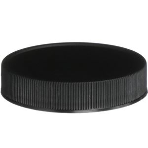 58-400 Continuous Thread Lined Black P/P Plastic Closure - F217 Foam Liner - Front View