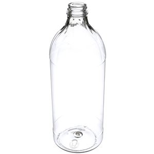 32 oz Clear PET Plastic Round Utility Bottle - 28-400 Neck Finish - Angled View