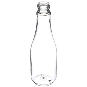 8 oz Clear PET Plastic Round Long Neck Bottle - 24-410 Neck Finish - Angled View