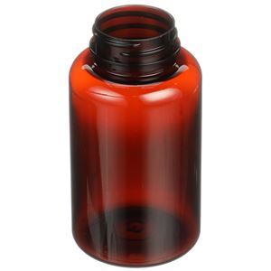 200 cc Light Amber PET 100% PCR Plastic Round Packer Bottle - 38-400 Neck Finish - Angled View