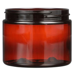 6 oz Light Amber PET Plastic Round Jar - 70-400 Neck Finish - Front View