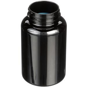 250 cc Black PET Plastic Round Packer Bottle - 45-400 Neck Finish - Angled View