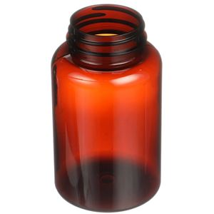 250 cc Light Amber PET 100% PCR Plastic Round Packer Bottle - 45-400 Neck Finish - Angled View
