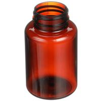 175 cc Light Amber PET Plastic Round Packer Bottle - 38-400 Neck Finish - Angled View