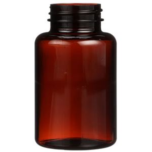 175 cc Light Amber PET Plastic Round Packer Bottle - 38-400 Neck Finish - Front View