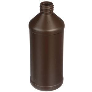 525 ml Brown HDPE Plastic Modern Round - 28-410 Neck Finish - Angled View