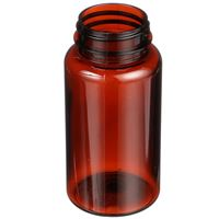 150 cc Light Amber PET Plastic Round Packer Bottle - 38-400 Neck Finish - Angled View