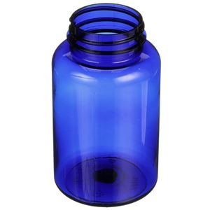 250 cc Cobalt Blue PET Plastic Round Packer Bottle - 45-400 Neck Finish - Angled View