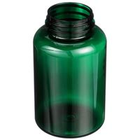 300 cc Dark Green PET Plastic Round Packer Bottle - 45-400 Neck Finish - Angled View